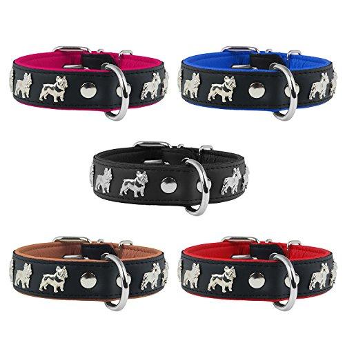 Lederhalsband Französische Bulldogge Hundehalsband Echtlederhalsband Halsband 50cm / 30mm Pink