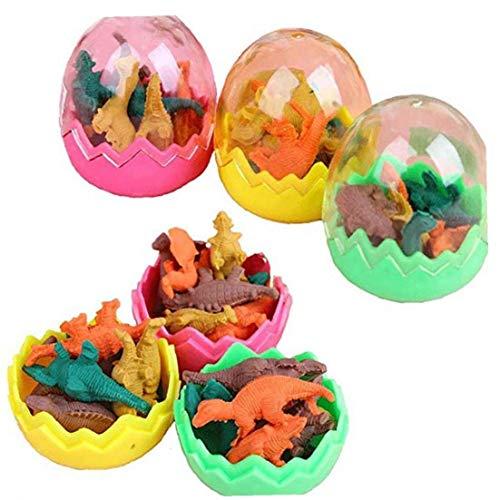 6Pcs Bambini Dinosauro A Forma Di Gomme Carino Uovo Eraser Con Mini Dinosaur All'Interno Giocattoli Uova Per La Decorazione Del Partito (Colore Casuale)