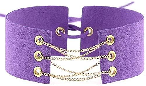 NC110 Necklace Glamorous Velvet Choker Chains Statement Necklace Link Chain Lace Up Chokers Necklaces