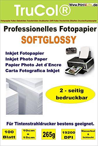 Beidseitig Inkjet Fotopapier Premium SOFTGLOSS 200 Blatt 10cm x 15cm seidenglänzend Satin 265g /m² beschichtetes Photo Paper Tintenstrahldrucker wasserfest lichtecht bis 19200 DPI bedruckbar