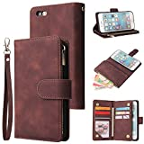 UEEBAI Wallet Case for iPhone 6 6S, Premium Vintage PU Leather Magnetic Closure Handbag Zipper Pocket Case Kickstand Card Holder Slots with Wrist Strap TPU Shockproof Flip Cover - Coffee