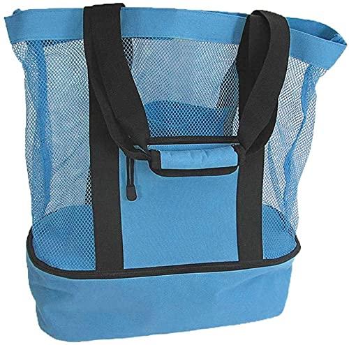 FENOMO Bolsa de playa de malla con nevera, bolsa de playa de malla grande ultra duradera para mujer (azul)