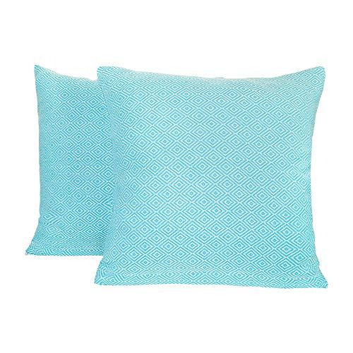 SCN Premium - Fundas de cojín (40 x 40 cm), juego de 2 unidades, algodón, decorativas, modernas, orientales, decorativas, para sofá, cojín lavable (turquesa, 40 x 40 cm)