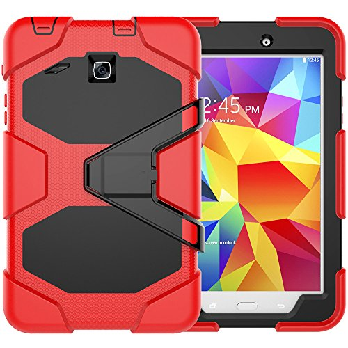 BAUBEY Samsung Galaxy Tab E 8.0 Case(Not Universal Tab A 8.0),Rugged Kickstand Stand Kids Proof Protective Case with Built-in Screen Protector for Samsung Galaxy Tab E 8.0 SM-T377 2016 , Red
