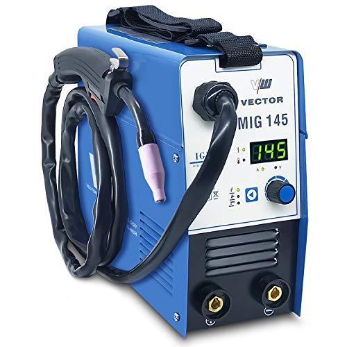 Soldadora de alambre tubular sin gas - Soldadora de alambre con 145 amperios y función de soldadura por electrodo con 140 amperios | Automóvil. Alimentador de alambre - inversor - de Vector Welding