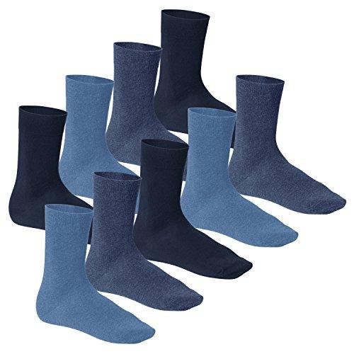 Footstar 9 Paar Komfort Premium Socken Frotteesohle jeans blau - 43/46