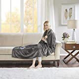 Beautyrest Plush Electric Blanket Throw for Cold Weather Multi-Level Heat Settings Controller, Secure Comfort Low EMF Technology and Auto Shut Off Safety, 60x70, Grey