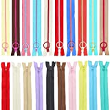 SelfTek 20 piezas de cremalleras de costura 10 piezas de cremallera de bobina de nylon de 11,8 inch y 10 piezas de cremallera de resina de 7,8 inch cremallera colorida