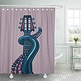 N\A Cortina de baño Tejido de poliéster Resistente al Agua Tentáculo de Pulpo sostiene una Plantilla de Guitarra para música con Set con Ganchos Cortinas Decorativas para baño
