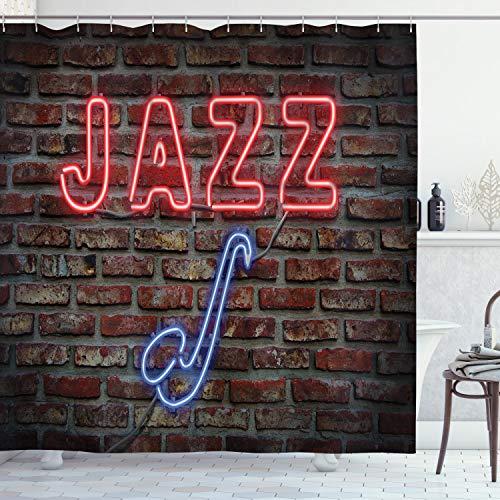 ABAKUHAUS Duschvorhang, Jazz Beschriftung in Neon Lichtern Blauen Saxofone Darunter Steinmauer Nachtleben Club Druck, Wasser & Blickdicht aus Stoff mit 12 Ringen Bakterie Resistent, 175 X 200 cm