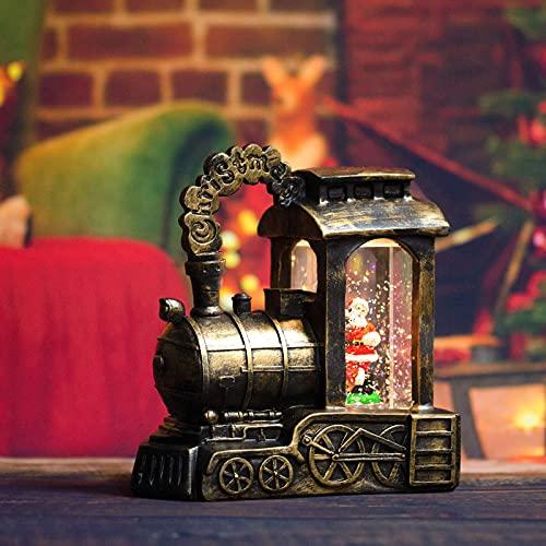 AETOK Canto Navidad linterna de agua musical de Navidad, bola de nieve con purpurina remolino para decoración del hogar, decoración de mesa, regalos funciona con pilas y funciona con USB (Santa)