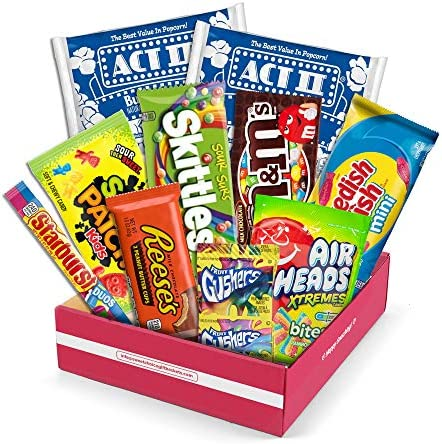 Redbox Movie Night Care Package with Popcorn Candy and Movie Rental for Students Valentines product image