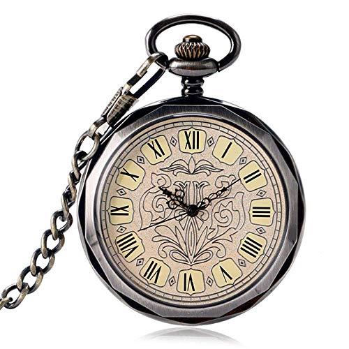 SHKUU Reloj Bolsillo Mecánico Wind Up Fob Reloj Exquisito Steampunk Estilo Cara Abierta Cadena PocketWatch Reloj Cuerda Manual Moda