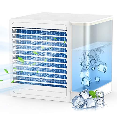 Mini Aire Acondicionado,Ventilador Portátil Aire Acondicionado Portátil con Carga USB 800ml y 2 Niveles de Viento, Mini Ventilador de Refrigeración con Luz LED para Oficina y Hogar
