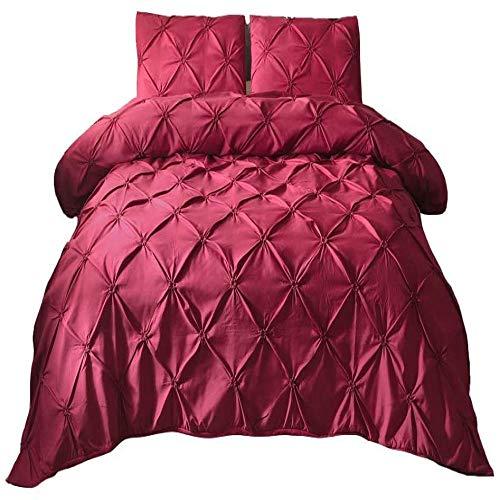 zzkds PizcaPlisada3 Piezas Pintuck Juego de Cama Geométrico Moderno Pintuck Cobertor Acolchado FundaSólido Rojo Chic Ative
