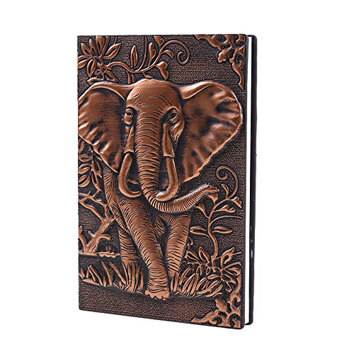 Leather Journal Writing Notebook - Antique Handmade Leather Daily Notepad Sketchbook, Elephant Gift For Men & Women, Travel Diary & Notebooks to Write in (Red, A6)