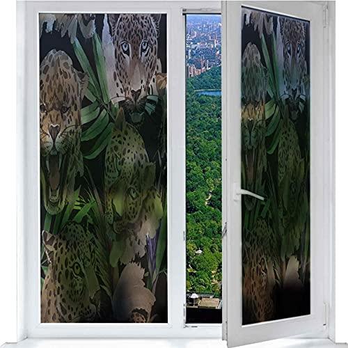 Película de privacidad para Window, diseño de mapa de bit, animal, leopardo, botany, plantas tropicales, auto-adhesivas, hojas de privacidad, 17,7 x 78,7 pulgadas
