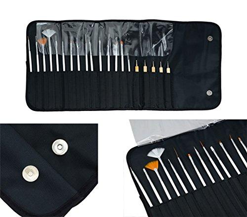 Lot de 20 pinceaux pour nail art avec trousse noire enroulable (couleur 1)