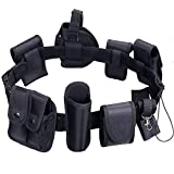 abcGoodefg Modular Equipment System Security Utility Tactical Duty Belt with 9 Components Pouches Bags Holster Gear for Law Enforcement Guard Security Hunting Black