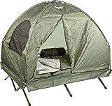 Semptec Urban Survival Technology Zelt: 4in1-Doppelzelt mit Feldbett, 2 Sommer-Schlafsäcken und Matratze (Zelt mit integrierter Matratze)