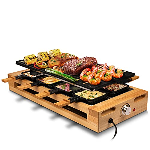 Indoor Grill COKLAI Raclette Grill Table Electric Grill Reversible Non-stick Plate Korean BBQ Grill Wooden Base Cheese Raclette with 8 Trays and Wooden Spatulas Adjustable Temperature Dishwasher Safe