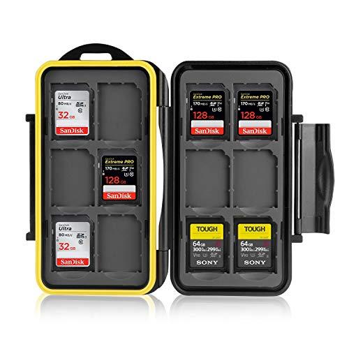 Ares Foto® Estuche impermeable Anti-choque para tarjetas de memorias 12 x tarjetas SD. Recubrimiento de goma de alta calidad: Protección perfecta contra la humedad.