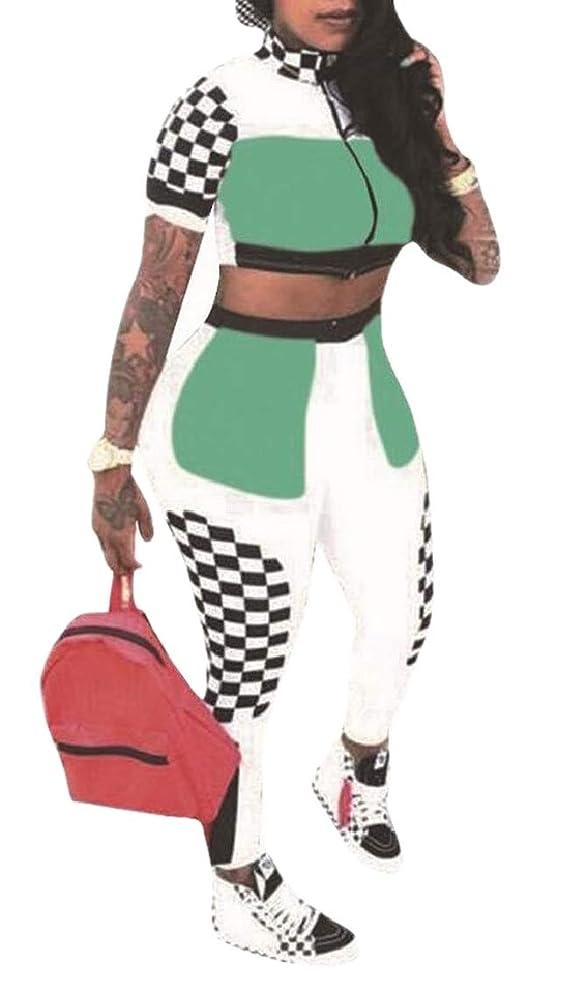 物質閃光バイナリ女性半袖のプラッド作物トップロングパンツは2ピースジャンプスーツを設定