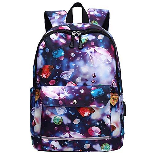 USB Charging Reflective School Bags for Teenage Girls Waterproof High School Backpack Women Student Book Bag Travel Backpacks Colorful