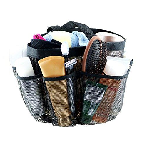sanlinkee Mesh Shower Bag, Dusche Caddy Tote Hängende Toilette Aufbewahrungstasche Quick Dry Wasserdicht Moistureproof Organizer Kosmetische Aufbewahrungsbeutel für Travel Camping Reisen, Schwarz