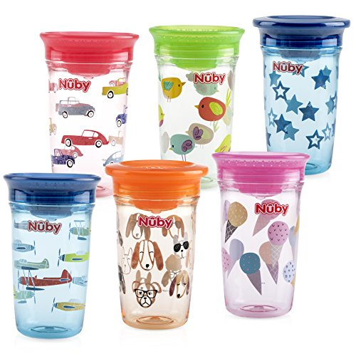 Nuby Tritan No Spill 360 Degree Printed Wonder Cup, Prints May Vary, 1pk