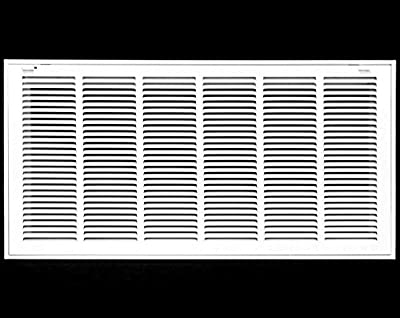 """30"""" X 10 Steel Return Air Filter Grille for 1"""" Filter - Removable Face/Door - HVAC DUCT COVER - Flat Stamped Face - White [Outer Dimensions: 32.5""""w X 12.5""""h]"""