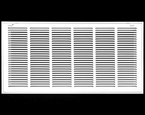 """30"""" X 12"""" Steel Return Air Filter Grille for 1"""" Filter - Removable Face/Door - HVAC Duct Cover - Flat Stamped Face -White [Outer Dimensions: 31.75w X 13.75h]"""