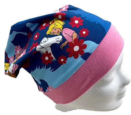 Beanie Mütze Bibi und Tina, Flowers blau, auch gefüttert
