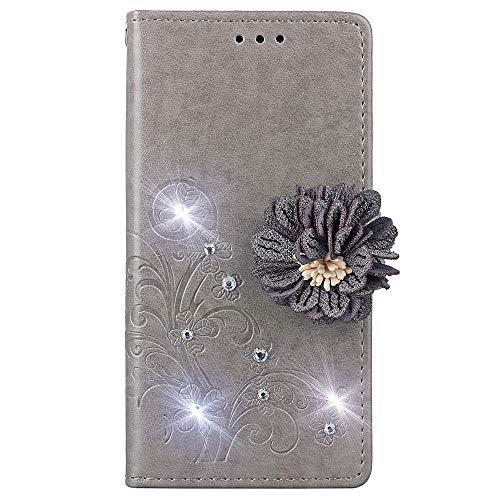 Caler Tasche Kompatibel für Huawei P Smart+ 2019/P Smart Plus 2019/Honor 20 Lite Hülle Außenseite aus Echt Leder Innenseite aus Textil Magnet Schutz Case Ständer mit Kartenfach Ultra Slim Cover