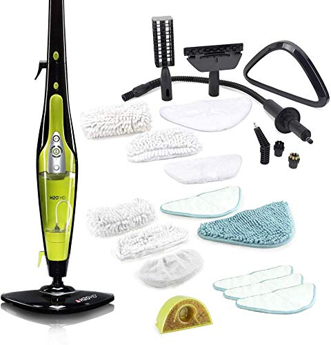 H2O HD - Premium Steam Mop & Handheld Cleaner - Multi Purpose, All-in-One, 1500w, for Carpets, Upholstery, Clothes, Floors, Laminate (Black & Avocado)
