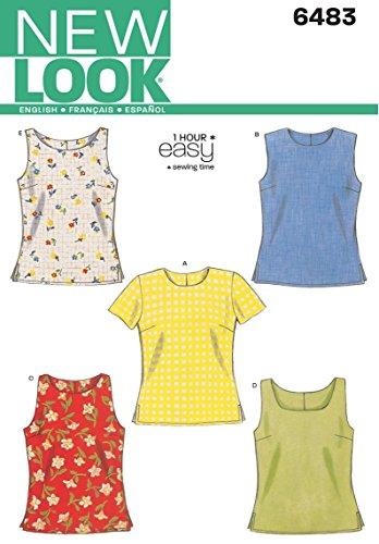 Simplicity New Look Schnittmuster 6483 für Damen-Oberteile, Größe A, Mehrfarbig