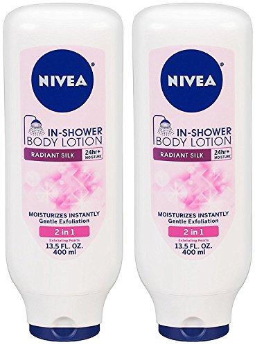 Nivea In Shower Body Lotion Radiant Silk 135 fl oz Pack of 2