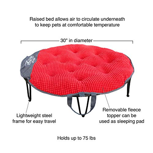 Kurgo Elevated Dog Bed, Indoor & Outdoor Travel Bed for Dogs, Portable Pet Cot for Camping Or Weekend Trip, Dog Travel Accessories, Collapsible, Lightweight, Includes Carrying Case, TAGO Bed, Red