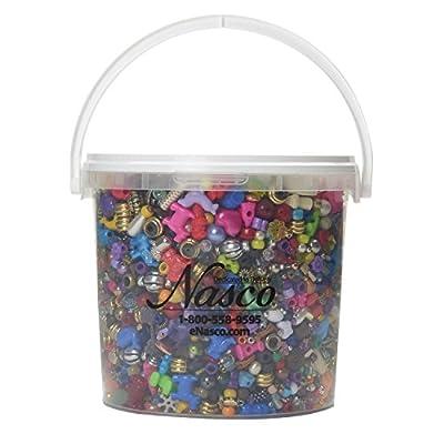 Nasco's Bucket O' Beads and Charms - 6,500 Beads & Charms - 1,350 ft of nylon cording