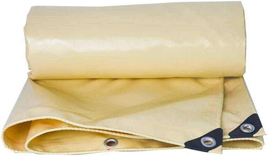 CJC Voiles d'ombrage à Toute épreuve 580gsm Imperméable Couverture De La Feuille Baches Couverture De Camping Abri Bache Filet D'ombre (Couleur   Beige, Taille   6x8m)