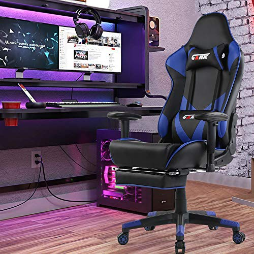 GANK Gaming Chair Racing Office Computer Chair High Back PU Leather Swivel Chair with Adjustable Massage Lumbar Support and Footrest (Blue-06)