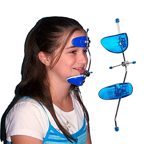 LXHSY Orthodontic Head Cap, Front Traction Device, Dental Single-Bar Adjustable Face Bow, Axial Orthodontic Arch,Blue
