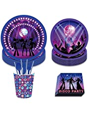 Disco Fever Dinners Nightclub Bar Party Decorations Kit including 8 x 9 Plates, 8x 7 Plates, 8x9 Oz Cups, 20x Luncheon Napkins,8pcs forks .8pcs spoons,8pcs knives, straws Serves 8 Guest Set