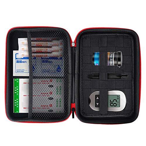 Eva Hard Protective Bag Travel Case Organizer Holder for Diabetic Supplies, Diabetes Testing Kit, Blood Glucose Meter Monitor, Test Strips, Syringes, Lancets, Needles (Black)