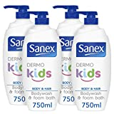 Sanex Dermo Kids Body Wash & Foam Bubble Bath 750 ml Pack of 4, Hypoallergenic, Paediatrician Approved, No Colourants or Soap, For Body & Hair (4x750 ml)