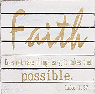 Waroom Home Faith Sign Does Not Make Things Easy It Makes Them Possible 10 x 10 inch Wood Wall Sign Plaque Breeze Sign