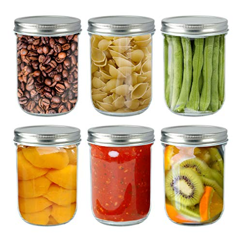 TGJOR Mason Jars 16 OZ with Airtight lid. 6 Pack Canning Jars perfect for Fermenting, Jam, Honey, Wedding Favors and Baby Foods, Freezing and Dishwasher Safe with Label & Pen (wide mouth)