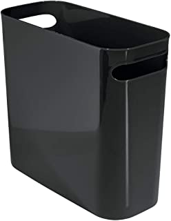 mDesign Slim Rectangular Small Trash Can Wastebasket Garbage Container Bin with Handles for Bathrooms Kitchens Home Office...