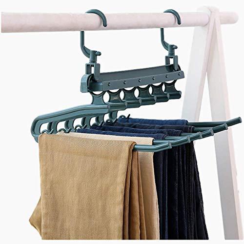 ZKDX 2pcs Pantalones Plegables tendedero con 2 Ganchos plásticos Colgante de Ropa Multifuncional Pantalón Rack Colgante para Armario Armario Organizador Azul