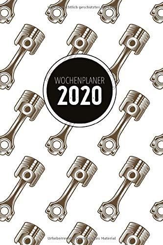 Wochenplaner 2020: Terminplaner 2020 | Jahreskalender A5 | Timer | Werkstatt Auto Tuning Geschenk | 160 S. | A5 | Motor Kolben Muster